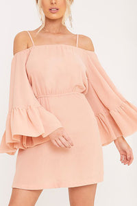 Nude Pink Off Shoulder Pure Color Mini Dress