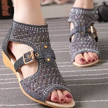 Heavy Wash Hollow Out Sandals