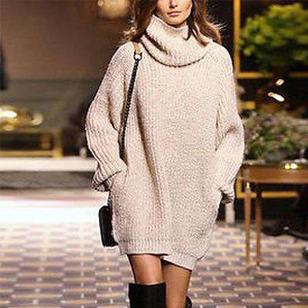 Elegant Fashion Casual Loose Plain High Collar Long Sleeve Sweater Shift Dress