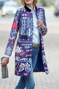 New Arrival Fashion Elegant Slim Floral Long Sleeve Suit Cardigan