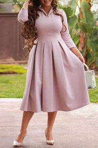 Fashion Sexy Plain Long Sleeve Skater Dress