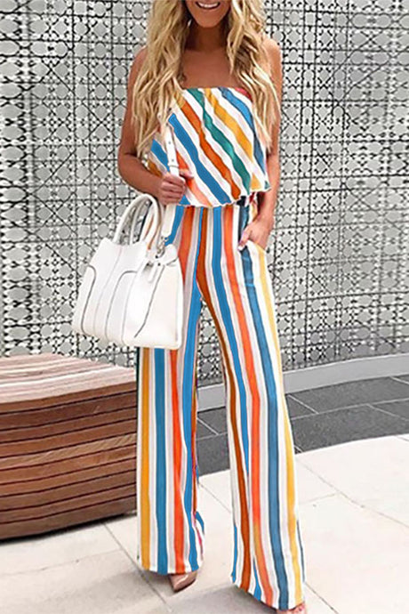 Sexy Colorful Ruffle Trim Tube Striped Jumpsuits