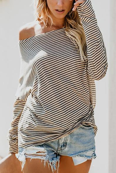 Fashion Stripe Long Sleeve Off Shoulder T-Shirt