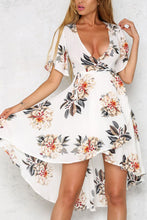 Elegant Floral Print Short Sleeves Mini Dress