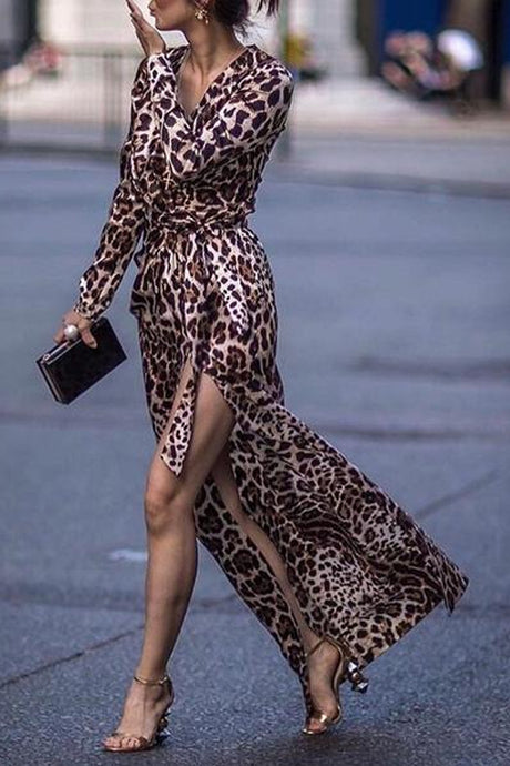 Sexy Leopard Print Side Vented Long Sleeve Floral Dresses Maxi Dresses