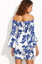 Strapless Bell Sleeve Zipper Printed Bodycon Dresses