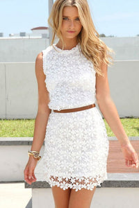 Lace Round Neck Sleeveless Bodycon Dresses