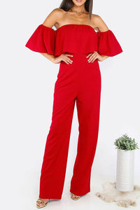 Strapless Sexy Speaker Sleeves Loose Jumpsuit