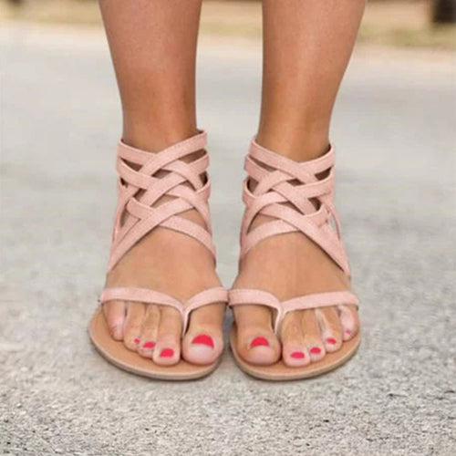 Zipper Casual Flat Sandals Woman Shoes