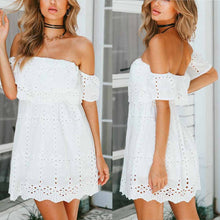 White Off-Shoulder Short Vacation Mini Dress
