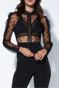 Sexy Lace Polka Dot Long Sleeve Jumpsuit