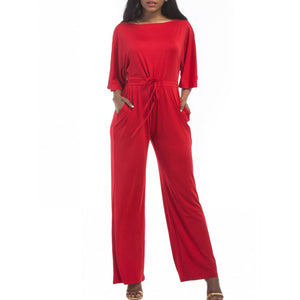 Boat Neck Drawstring Plain Pocket Wide-Leg Jumpsuit