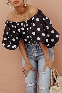 Black Polka Dot Off Shoulder Blouses