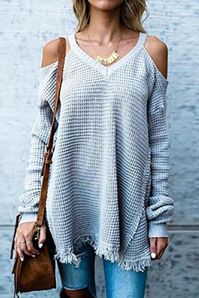 Strapless Pure Color  Tassel Knitting Sweater