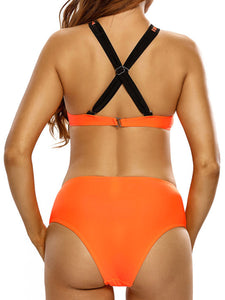 X-Back Crew Neck  Contrast Trim  Printed Bikini