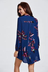 V Neck  Asymmetric Hem  Two Way  Printed Shirts