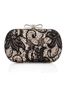 Rhinestone Bowknot Black Lace Clutch Bag