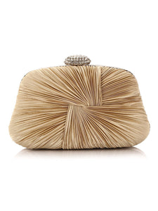 Rhinestone Pleated Chain Evening Clutch Bag