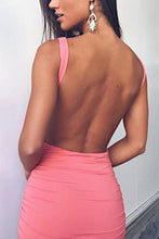 Backless  Plain  Sleeveless Bodycon Dresses