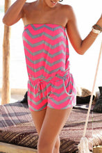 Strapless Drawstring Smocked Bodice Wave Stripe Playsuits