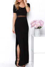 Round Neck  Patchwork Slit  Plain  Short Sleeve Maxi Dresses