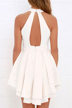 Halter  Cutout Zipper  Plain  Sleeveless Skater Dresses
