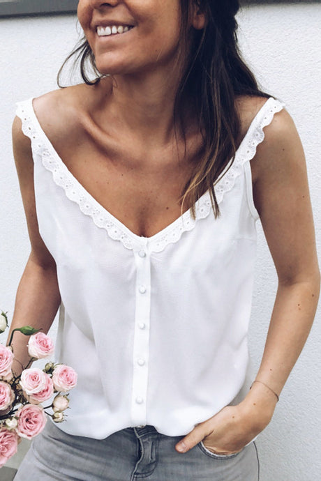 Sexy Pure Color Lace-Up Strap Top Shirt