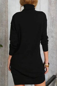 High Neck  Plain Sweater Dresses