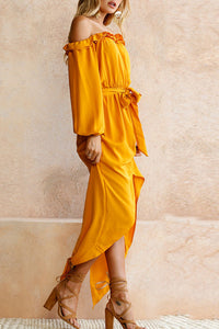 Off Shoulder  Asymmetric Hem Elastic Waist  Belt  Plain Maxi Dresses