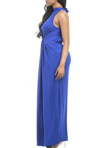 Band Collar Ruched Plain Evening Dress