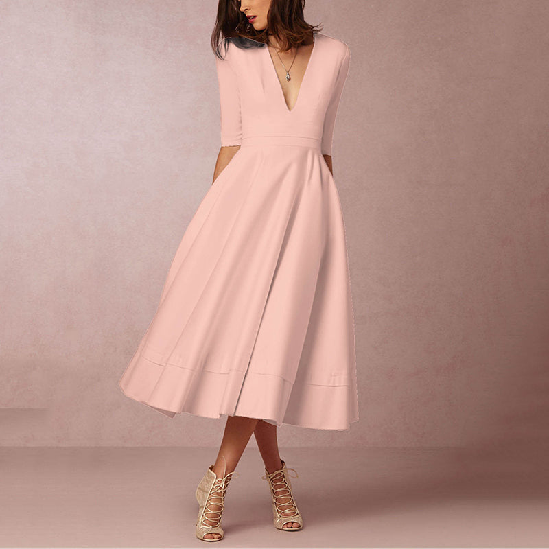 8a5067b37163 Sexy Deep V-Neck Solid Midi Skater Dress – PINKSIA