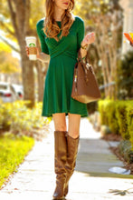 Round Neck  Patchwork  Plain  Long Sleeve Skater Dresses