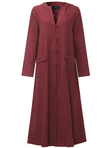 Women Vintage Frog Button Long Sleeve Hooded Long Maxi Dress