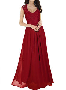 Hollow Back Halter V-Collar Lace Evening Dress