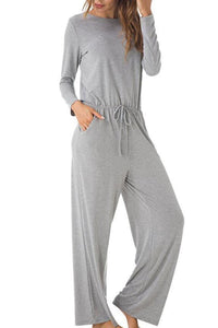Crew Neck  Back Hole Plain Jumpsuits