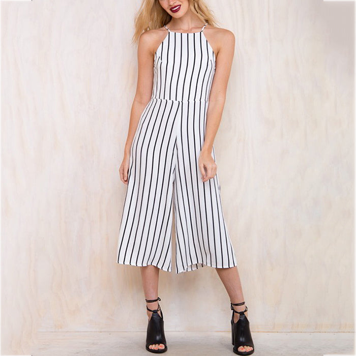 Sleeveless Sexy Halter Striped Jumpsuit