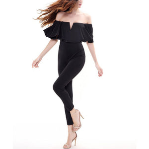 Sexy Lotus Leaf Cutaway Collar Jumpsuit