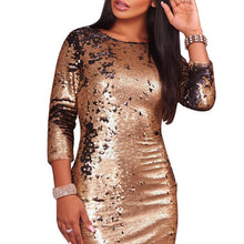 Gold Sequins Slim Party Evening Dress