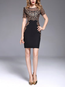 Large Size Embroidered Lace Evening Dress