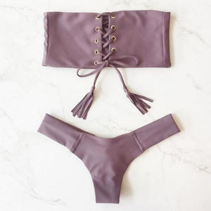 Bandage Bikini Split Swimsuit