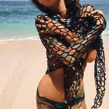 Vacation Beach Sequins Swimsuit Shawl