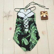 Green Leaf Halter One-Piece Swimsuit