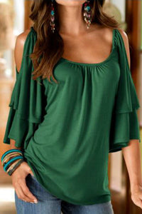 Open Shoulder Round Neck  Plain  Bell Sleeve T-Shirts