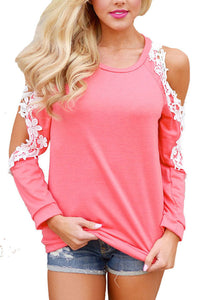 Open Shoulder Round Neck  Patchwork T-Shirts