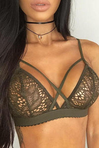 Sexy Lace Crossover Front Bralette Top Lingerie