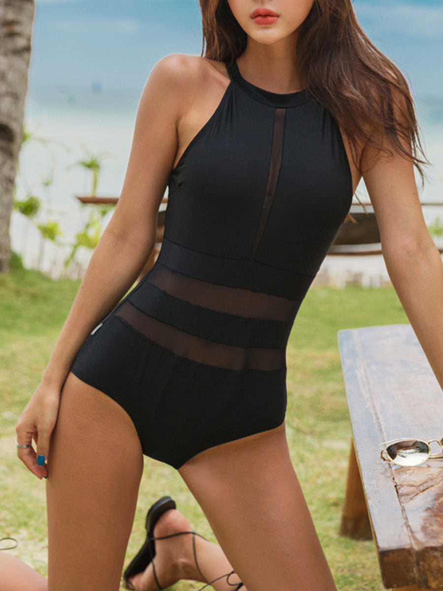 Crew Neck  Plain One Piece