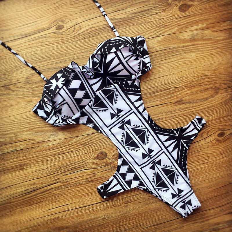 White Geometric Printing One-Piece Swimwear