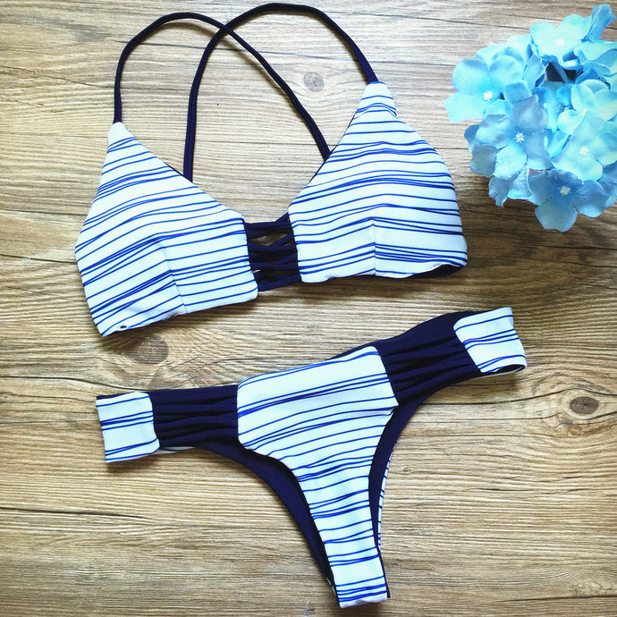 Blue Stripe Halter Straps Swimwear