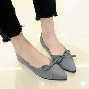 Plain  Flat  Faux Leather  Point Toe  Casual Flat & Loafers