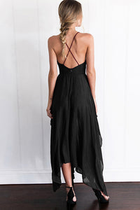 Spaghetti Strap  Asymmetric Hem High Slit  Plain Maxi Dresses